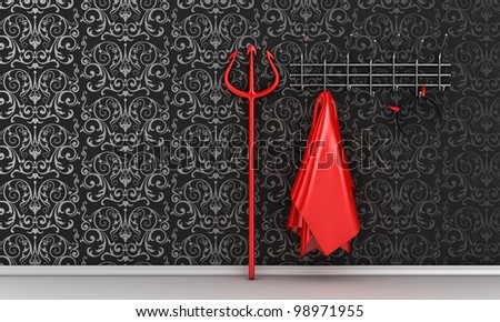 Illustration of devil costume and horns on a hanger - stock photo