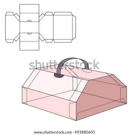 hexagonal dispenser box die cut template stock vector 346357331 shutterstock. Black Bedroom Furniture Sets. Home Design Ideas