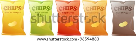 Illustration of 5 different kinds of potato chips. - stock photo