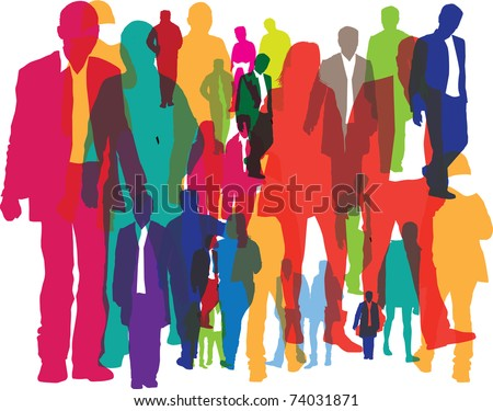 illustration of different people as a background - stock photo