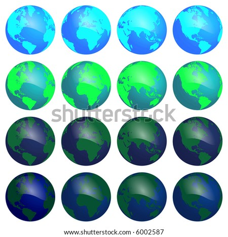 Illustration of different positions of the earth and different colors/hues. 1 of 2.