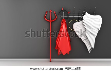 Illustration of different religious costumes on a hanger - stock photo
