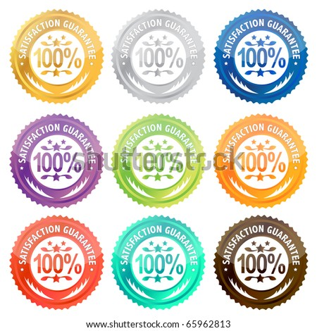 Illustration of different satisfaction guarantee labels . / Satisfaction guarantee - stock photo