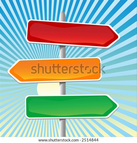 illustration of direction sign. - stock photo