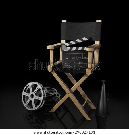 Illustration of director chair, and over filmmaker equipment, over black background. - stock photo