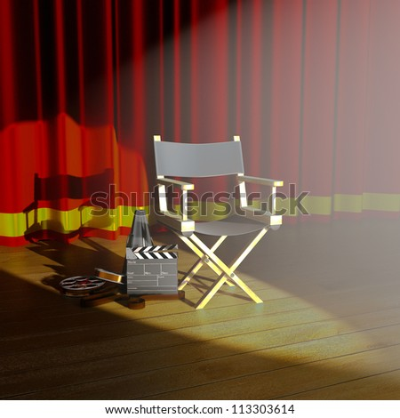 illustration of director's chair with clap board on stage