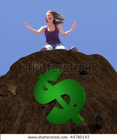 Illustration of Dollar Sign Fallen down cliff with woman on ledge above yelling in despair