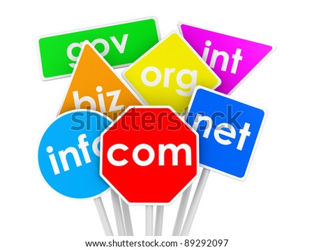 Illustration of domain names as traffic signs - stock photo