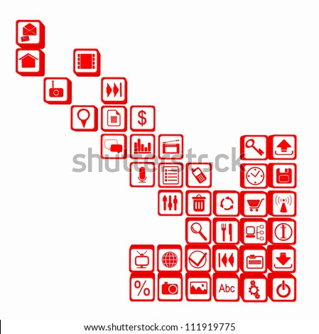 illustration of downloading applications. red arrow made up of the tablet and smart phone apps - stock photo