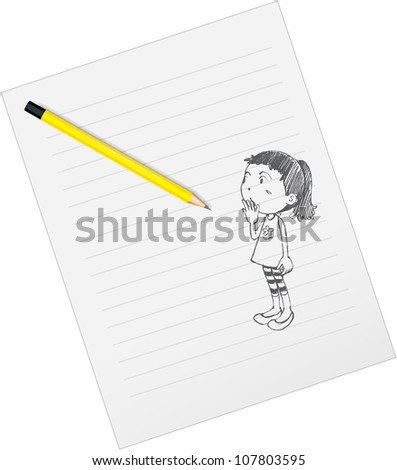 illustration of drawing paper and pencils on a white background - stock photo