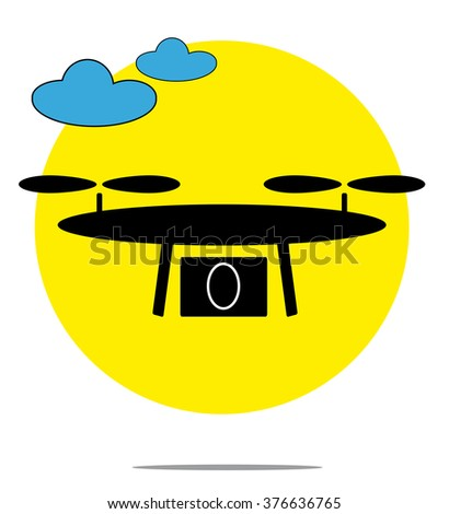 Illustration of drone with clouds and yellow circle background - stock photo