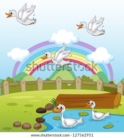 Illustration of ducks and a rainbow and a beautiful landscape - stock photo