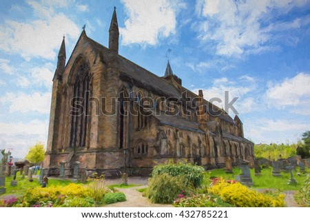 Illustration of Dunblane Cathedral Scotland UK near Stirling medieval church like oil painting