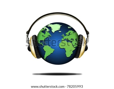 Illustration of earth globe and headphones