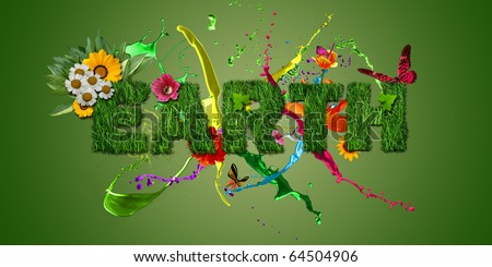 Illustration of 'EARTH' text with grass effect, paint splashes, flowers, birds and butterflies - stock photo