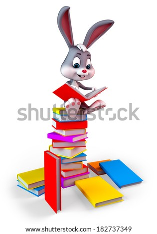 Illustration of Easter Bunny is sitting on the books pile - stock photo
