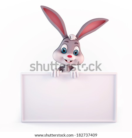 Illustration of Easter Bunny with big white sign - stock photo