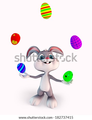 Illustration of Easter Bunny with colorful eggs