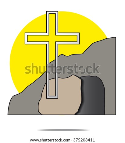 Illustration of easter cross with grave - stock photo