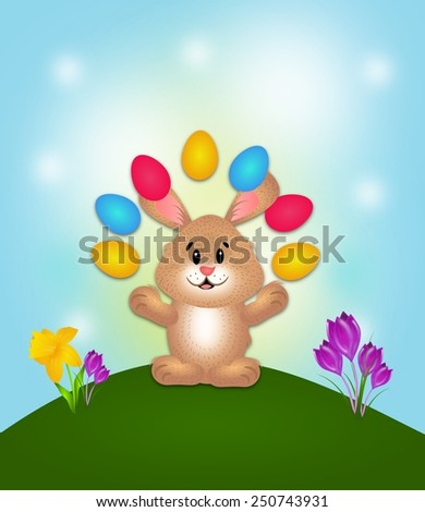 Illustration of easter rabbit on background card - stock photo