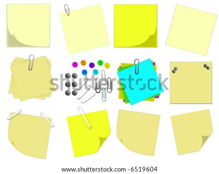 Set Yellow Paper Notes Push Pins Stock Vector 588452399 - Shutterstock