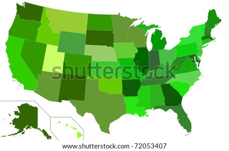 Illustration of Eco green USA map isolated on white background.