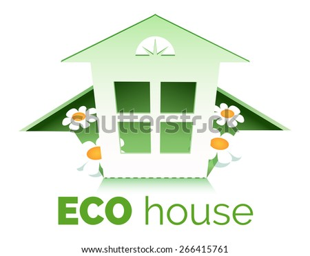 Illustration of eco house symbol. Only free font used. Isolated on white background. - stock photo
