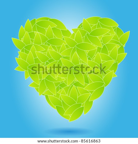 Illustration of ecology concept - heart from leaves - stock photo