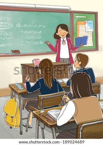 Illustration of education and classroom teaching - stock photo