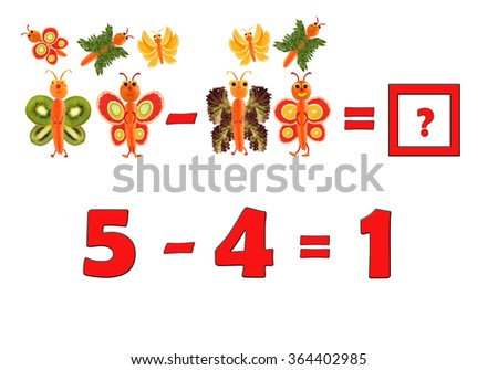 Illustration of Education Mathematics for Preschool Children. The figures are made of fruits and vegetables for the development of figurative and abstract thinking.  - stock photo
