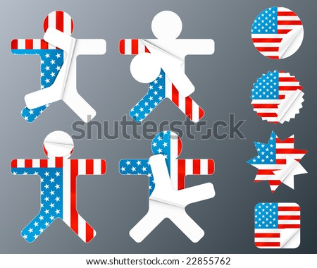 Illustration of eight different peeling stickers in United states of America flag theme.