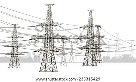 illustration of electricity pylons.   - stock photo