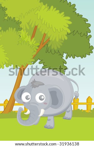 Illustration Elephant Garden Stock Illustration 31936138 - Shutterstock