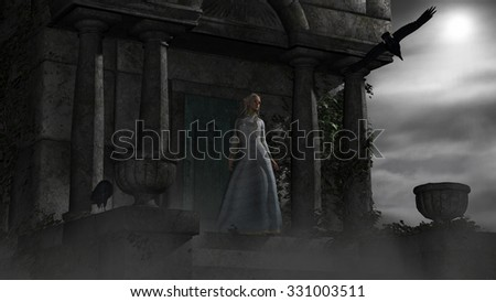 Illustration of Elf woman in old spooky mausoleum in moonlight