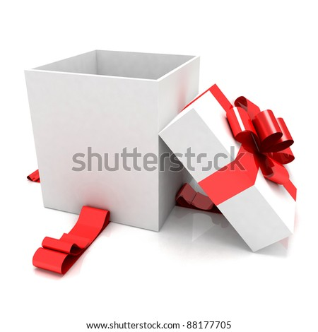 illustration of empty box for Christmas gift - stock photo
