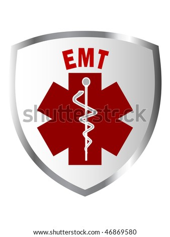 Illustration of EMT sign on shield or patch - stock photo