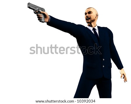 Illustration of enraged man in a dark suit holding a gun.  Based on an original 3d render; suitable for depicting video games.