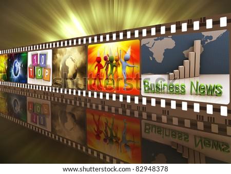 Illustration of entertainment movie film strip reel - stock photo