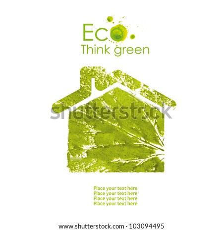 Illustration of environmentally friendly house  from watercolor stains, isolated on white background. Think Green. Ecology Concept. - stock photo