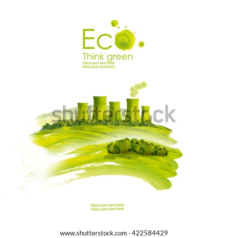 Illustration of environmentally friendly planet.Green factory on the field , hand drawn from watercolor stains, isolated on a white background. Think Green. Eco Concept.
