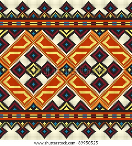 illustration of ethnic ukrainian seamless ornament - stock photo