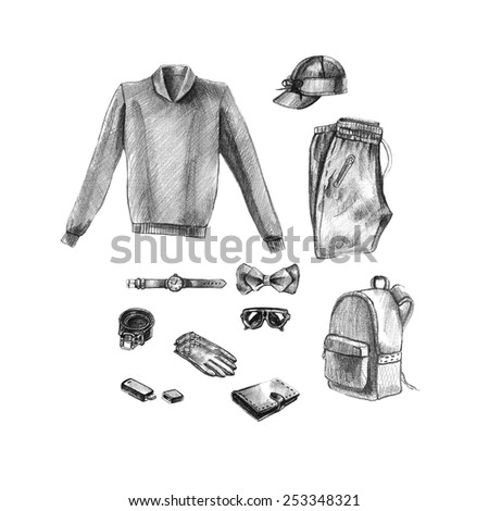 illustration of every day carry and outfit accessories, things, tools, essentials, equipment, objects, items. Icons collection . Clothes. Hand drawn fashion illustration. mens accessories