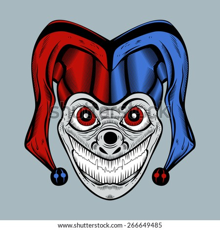 Illustration of evil clown with red eyes in colored cap. - stock photo