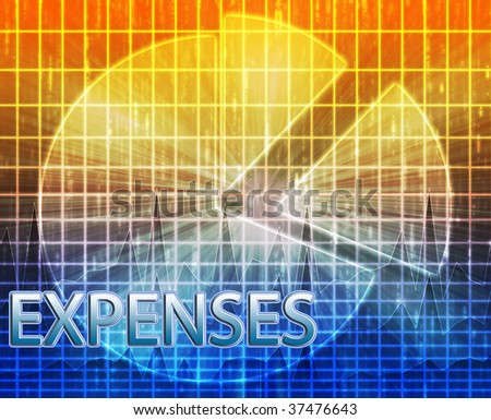 Illustration of expenses  budgeting finance and business pie chart - stock photo