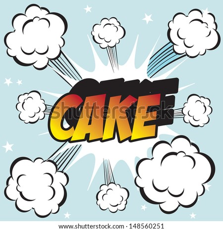 Illustration of explosion or big fight in comics book style CAKE