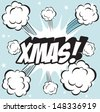 Illustration of explosion or big fight in comics book style XMAS  - stock