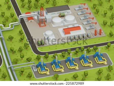 Illustration of extraction of oil, transporting gas or oil on land station. Oil field - stock photo