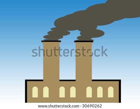 Illustration of factory building polluting atmosphere with dark smoke.