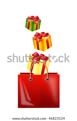 Illustration of falling gifts in a bag for purchases on a white background