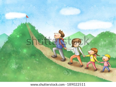 Illustration of family hiking